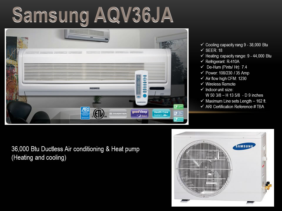 Samsung Aqv36ja 36 000 Btu Ductless Air Conditioning