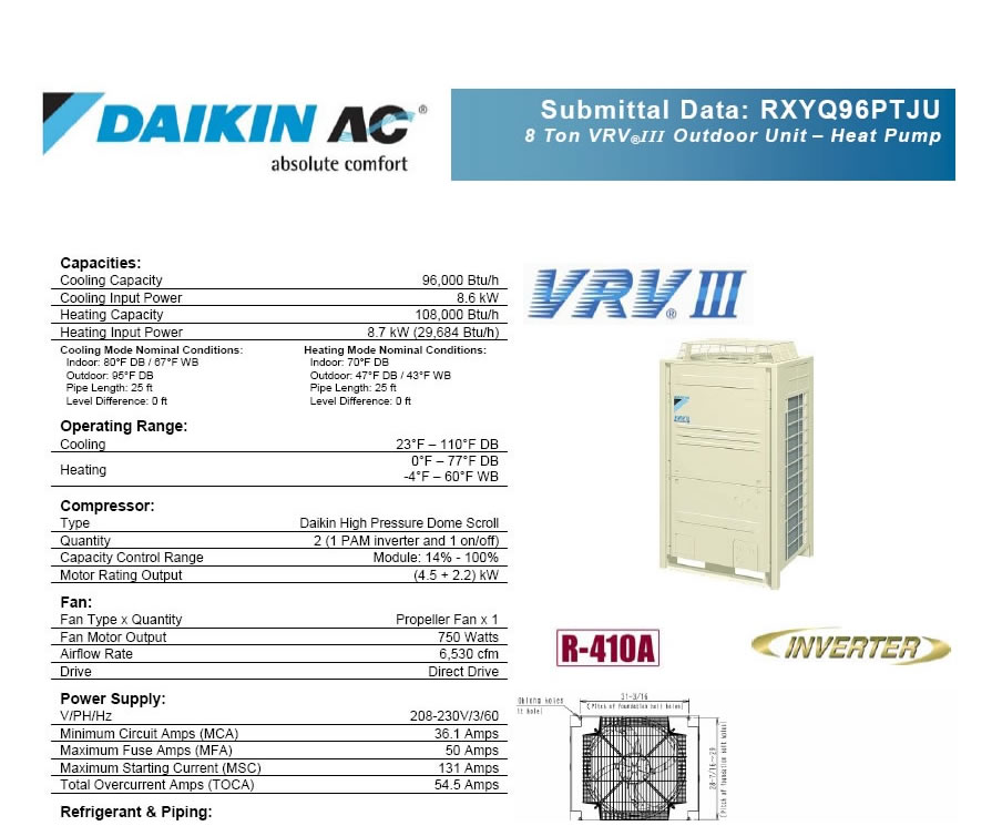 Daikin Vrv Iii 8 Ton Commercial Ductless Air Conditioner